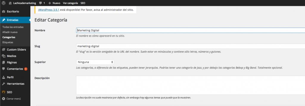 categorías en wordpress